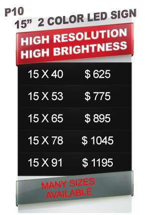 2 COLOR LED SIGN price table