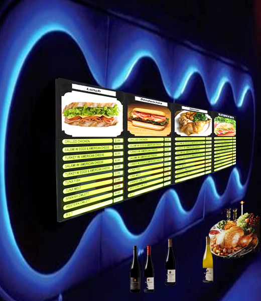 restaurant led menu board advertising light box store display pictures